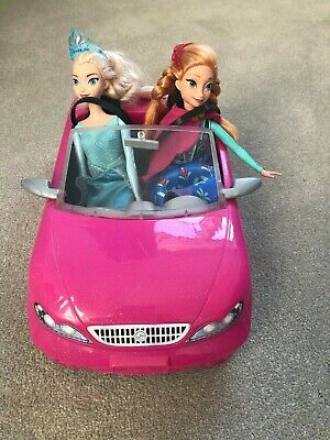 Barbie Glam Convertible Car Anna Doll  Elsa Doll Included Lovely Condition