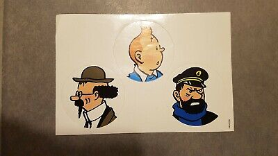 "3 autocollants ronds ""Tintin/Capitain Haddock/Tournesol"" - Hergé"
