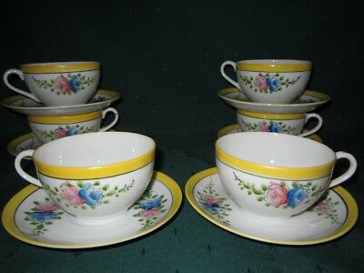 Pretty Bone China Tea Cups & Saucers~Japan~Pink & Blue Roses~VG
