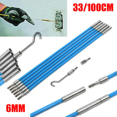 10X1M/330mm Blue Fiberglass Wire Cable Running Rods Fish Pulling Wire Holder