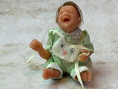 Vintage Miniature Dollhouse Artisan Sculpted Little Crying Baby Doll Sitting