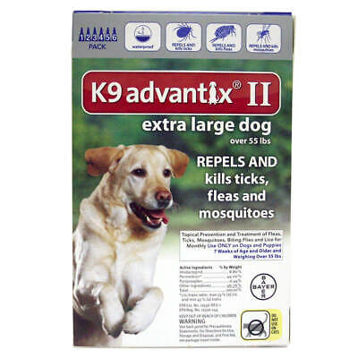 K9 ADVANTIX II for Extra Large Dogs over 55 lbs (6 PACK) + 1 Extra Pack