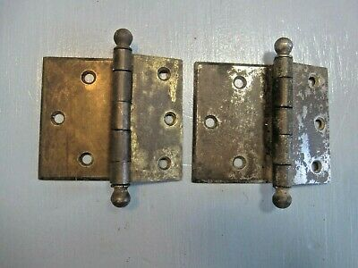 Pair Antique Vintage Hager door hinges overlay,cannon ball pins,clear/full swing