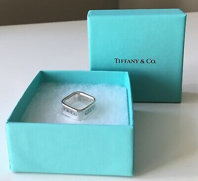 Rare Tiffany & Co.  1837 Sterling .925 Silver Square 8mm Band Ring – Size 5