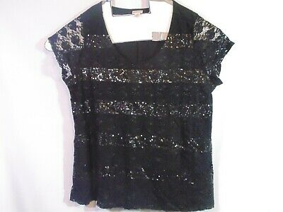 Motherhood Womens Maternity Top Size 3xL Black lace and sequin Cap Sleeve