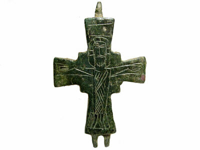 Choice Byzantine Half Of A Bronze Reliquary Cross Encolpion+++Top Condition+++