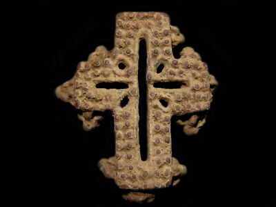Extremely Rare Byzantine Reliquary Bronze Cross Fragment+++