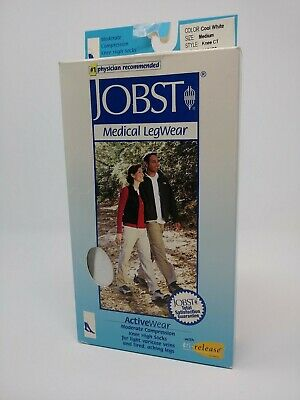 Jobst ActiveWear White Medical Compression Knee Socks Medium 15-20 mmHg 110480