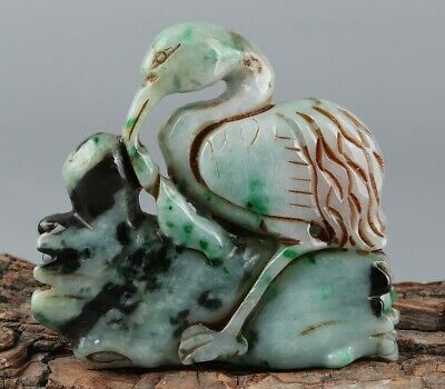 Chinese Exquisite Hand-carved crane Carving jadeite statue