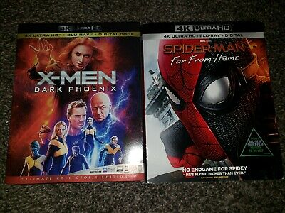 Spider-Man: Far From Home X-men Dark Phoenix 4k Ultra HD + Blu-Ray Lot