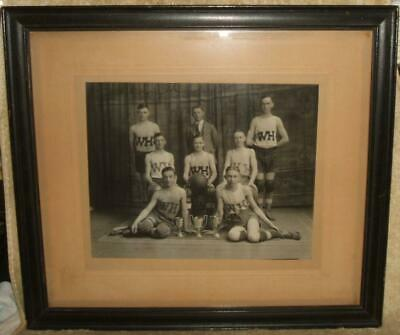 Late 1800's Framed Cabinet Photo Waterbury, Conn, (Crosby High) Basketball Team
