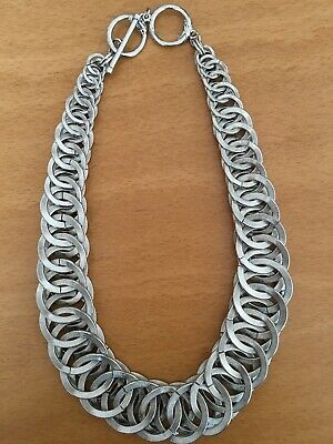 Modernist Vintage Retro Style Round Discs Chunky Silver Necklace Toggle Clasp