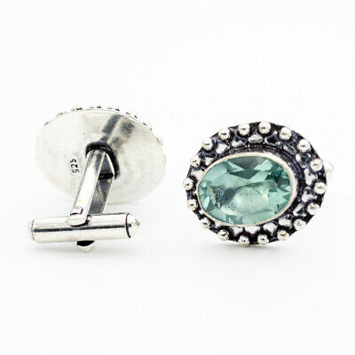 London Blue Topaz 925 Sterling Silver Gemstone Jewelry Cufflink Stnd. 9886