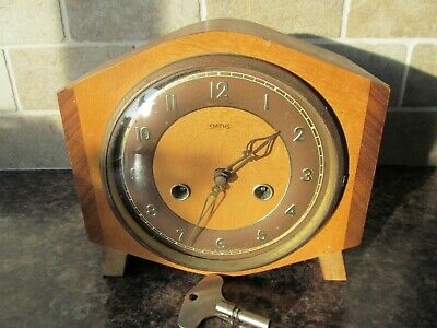 SMITHS Wooden Cased Chiming Mantle Clock SPARES OR REPAIRS with key