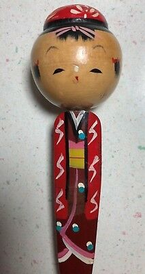 Vintage Japanese Kokeshi Doll - Back Scratcher - bamboo wood wooden Japan