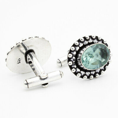 London Blue Topaz 925 Sterling Silver Gemstone Jewelry Cufflink Stnd. 9908