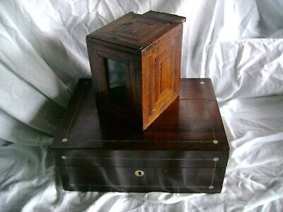 Antique Rosewood inlaid box with Cards/Photos Boer war and Antique puzzle box