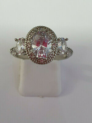 3 STONE VINTAGE/ANTIQUE Style CUBIC ZIRCONIA Ring 925 Silver SIZE 8         R183