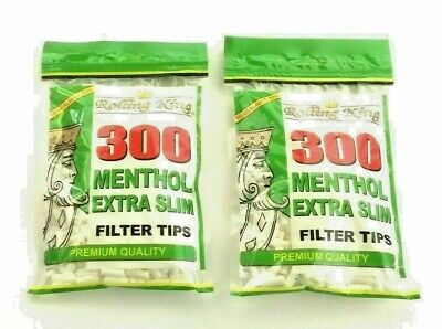 2 x 300 ROLLING KING EXTRA SLIM MENTHOL 600 CIGARETTE FILTER  TIPS Resealable