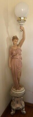 Vintage Italian Made Floor Lamp Of A Lady On Pedestal