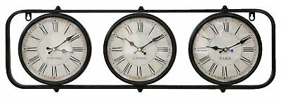 Vintage Style Wall Clock  Metal Wall Clock with 3 Time Zones Black Wall Clocks