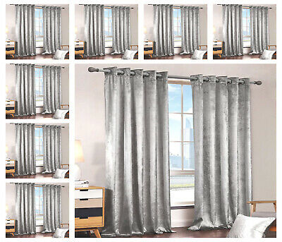SILVER Crushed Velvet Curtains PAIR of Eyelet Ring Top Fully Lined Ready Made