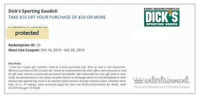 3 DICK'S Sporting Goods: $10 OFF $50 - Exp 10/28 & [2] $20 OFF $100 Exp 12/31/19
