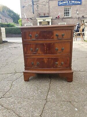 Bevan Funnell Reprodux Three Drawer Small Bow Fronted Mahogany Drawers Bedside