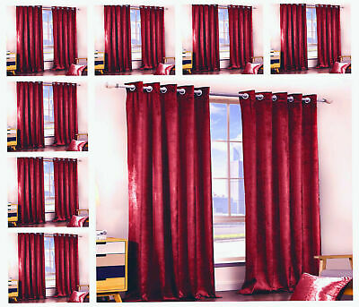 RED Crushed Velvet Curtains PAIR of Eyelet Ring Top Fully Lined Ready Made