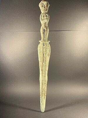 Ancient Near Eastern Military Bronze Object With Humanoid Hilt Circa. 700-100Bc