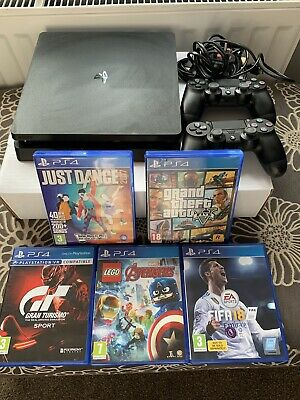 Sony PlayStation 4 Slim 500gb Console, 2 Controllers, 5 Games