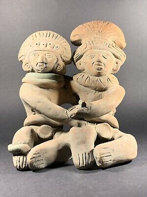 Museum Quality Ancient Double Figure Mayan Terracotta Idol Circa 900Bc-250Ad