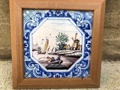 Antique Dutch tile Possibly delft Framed