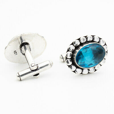 London Blue Topaz 925 Sterling Silver Gemstone Jewelry Cufflink Stnd. 9959