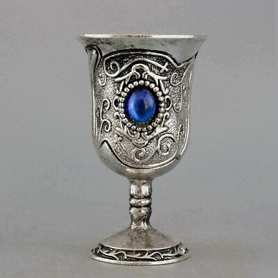 Collect China Old Miao Silver Inlay Zircon Carve Bloomy Flower Noble Wine Cup