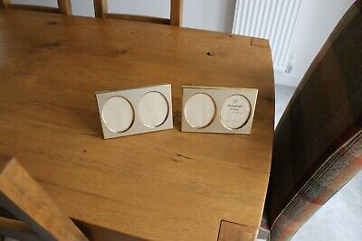"""Two Double Oval Picture Frames 3"""" X 4"""" Pic's Oblong Gilt Surround"""