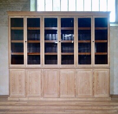 An Antique Exceptionally Large Bleached Glazed Cabinet Bookcase Shop Display