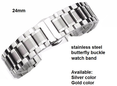 Cinturino acciaio 24mm Silver or gold Stainless Steel watchband Strap butterfly