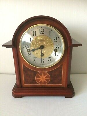 Franz Hermle Vintage Wooden Inlaid Arch Top Mantel Clock