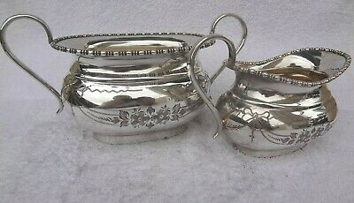 Vintage set  Silver Plated epns Cream Milk Jug & Sugar dish highly decorated