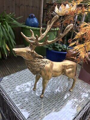 Brass Stag Deer Old Solid Heavy Antique Animal
