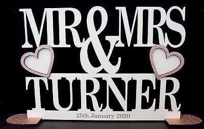 Mr and Mrs Personalised Wooden Sign Just Married Wedding Gift IVORY with Glitter