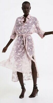 BNWT** Zara Embroidered Tunic With Belt Maxi Baby Pink Floral Print Dress Medium