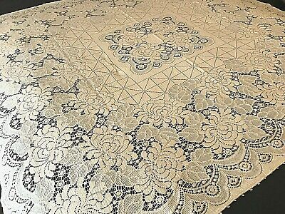 """Quaker Lace Creamy Ivory Ornate Floral Dinner Table Cloth Vintage 52""""x56"""" A2"""