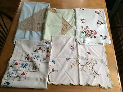 Lot Of 5 Vintage Embroidered Tablecloth- Cutters, Crafts, Or Use Madeira Florals