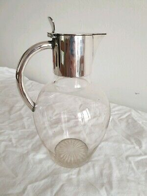 Glass Art Nouveau Claret Jug With Mounted EPNS Handle And Lid