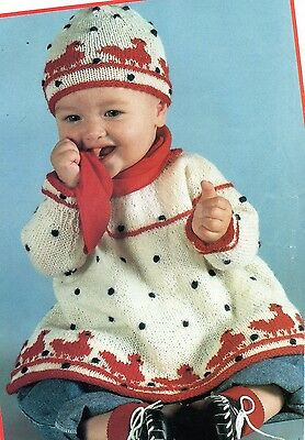 """~ Laminated Baby Knitting Pattern For Cute Duck Motif Dress & Hat ~ 20"""" ~ 24"""" ~"""