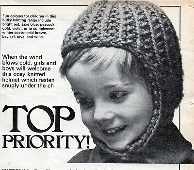~ Laminated Vintage Knitting Pattern For Toddler's Cosy Chunky Helmet ~
