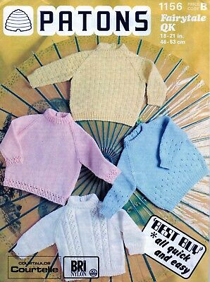 """~ Patons Baby Knitting Pattern For Four Pretty Jumpers ~ Chest Sizes 18 ~ 21"""" ~"""
