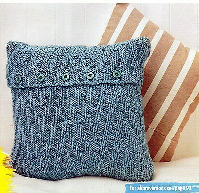 """~ Pull-Out Knitting Pattern For Buttoned Textured Cushion Cover ~ Fits 18"""" Pad ~"""